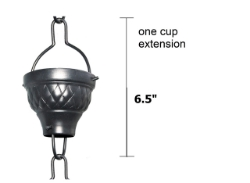 Picture of U-nitt Rain Chain Single Cup Extension #786/1062A: one cup with upper and lower links