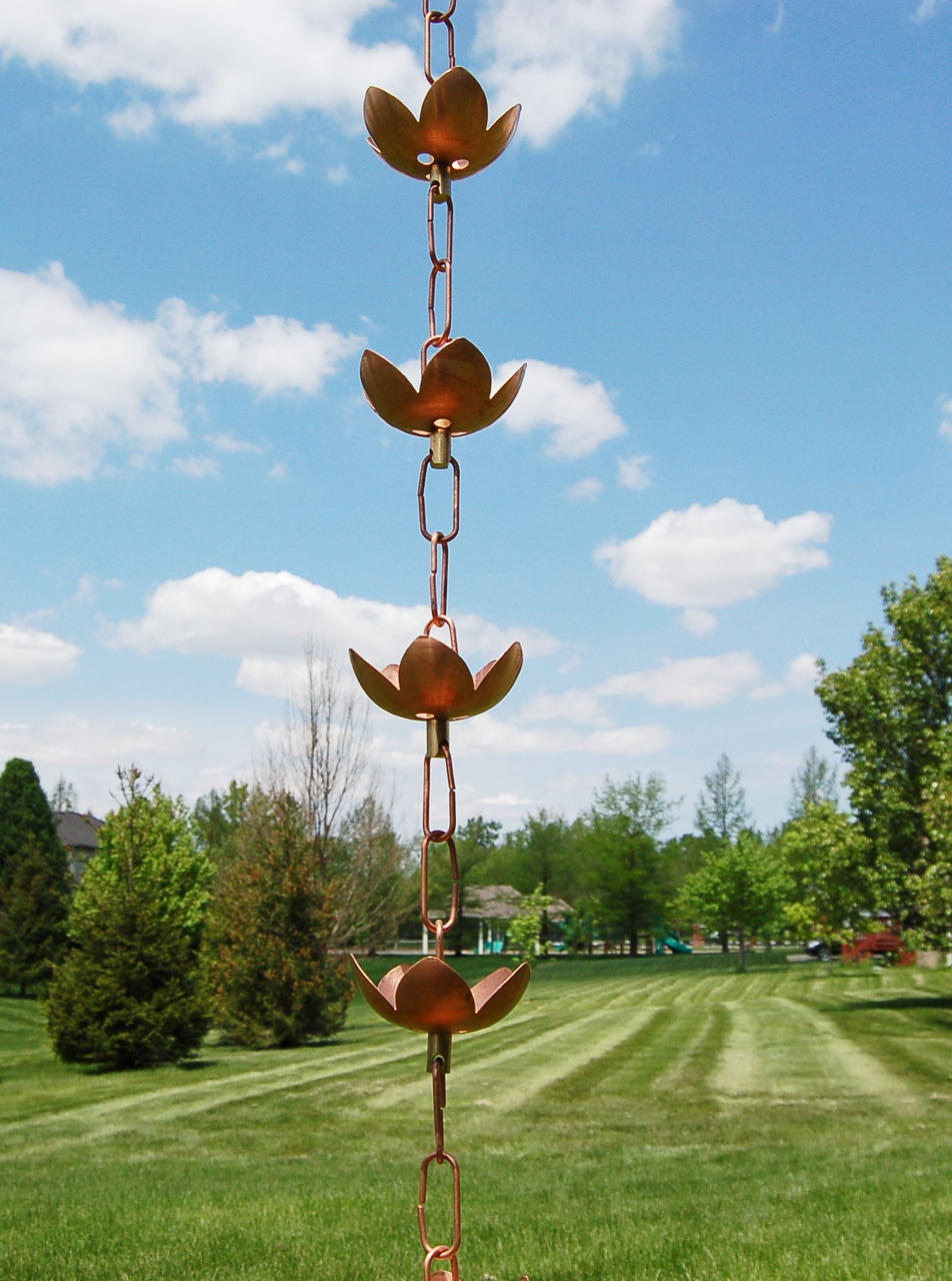Picture of U-nitt pure Copper Rain Chain: lily cup 8 - 1/2 ft #5226