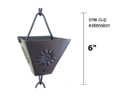 Picture of U-nitt Rain Chain Single Cup Extension #5515BLK (embossed: one cup with upper and lower links)