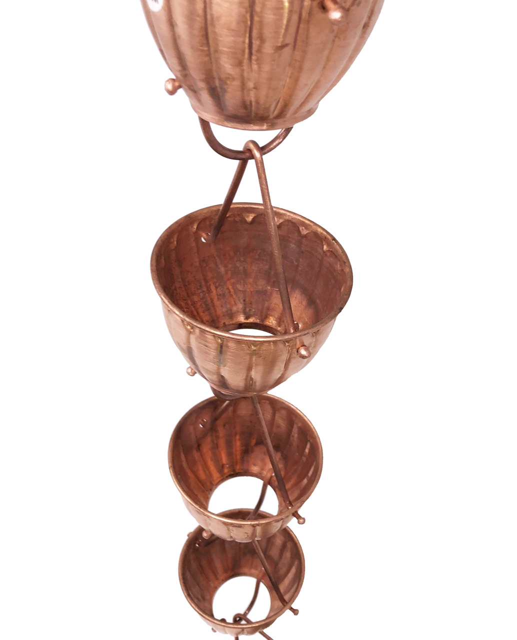 Picture of U-nitt Pure Copper Rain Chain: Fluted Ribbed Cup 8 - 1/2 ft (Whole Chain) #5555