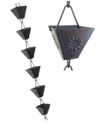 Picture of U-nitt Rain Chain: XL Square Cup Embossed Sunflower: Aluminum 8 - 1/2 ft #5515BLK