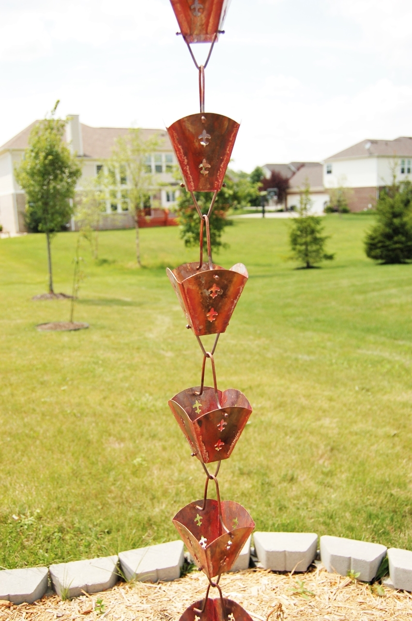 Picture of U-nitt pure Copper Rain Chain: aged square cup 8 - 1/2 ft #8562