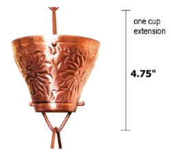Picture of U-nitt Rain Chain Single Cup Extension #5501: one cup with upper and lower links