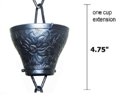 Picture of U-nitt Rain Chain Single Cup Extension #5501A: one cup with upper and lower links