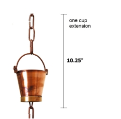 Picture of U-nitt Rain Chain Single Cup Extension #8146: one cup with upper and lower links