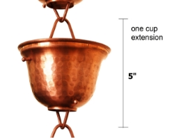 Picture of U-nitt Rain Chain Single Cup Extension #3124C: one cup with upper and lower links