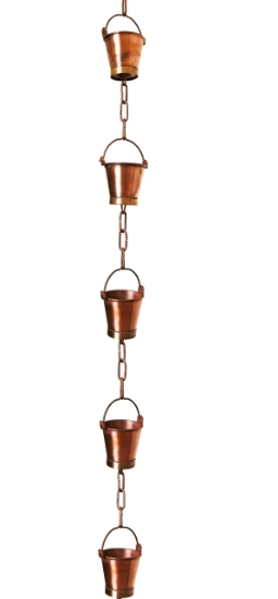 Picture of U-nitt pure Copper Rain Chain: bucket cup 8 - 1/2 ft #8146