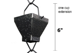 Picture of U-nitt Rain Chain Single Cup Extension #5517BLK: one cup with upper and lower links