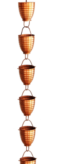 Picture of U-nitt Pure Copper Rain Chain: ribbed cup 8 - 1/2 ft #2980