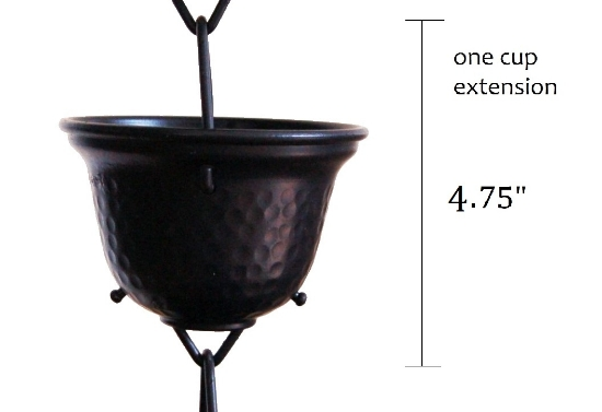 Picture of U-nitt Rain Chain Single Cup Extension #3124BLK: one cup with upper and lower links