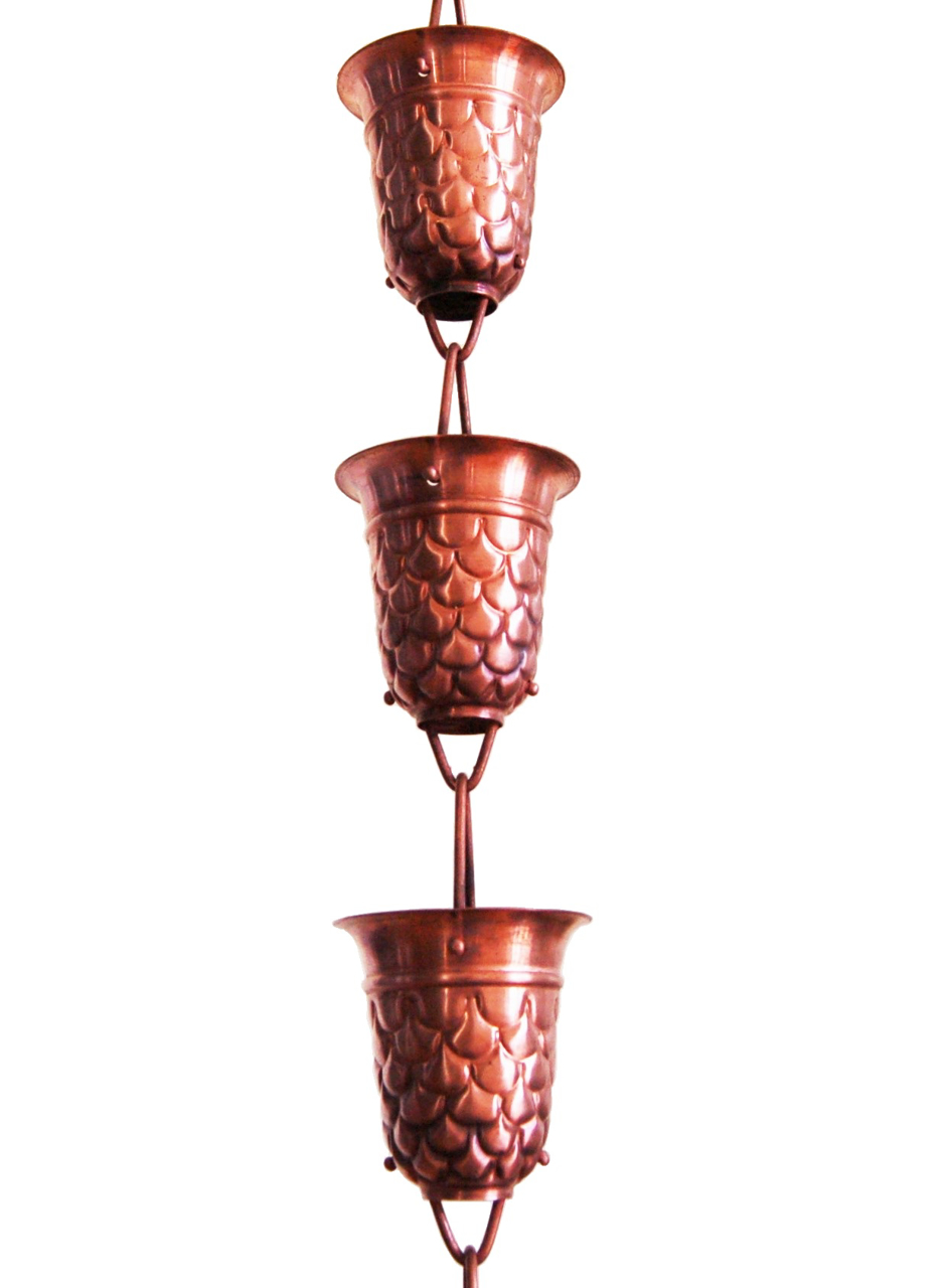 Picture of #5550 Do You See Fish Embossed Cup Rain Chain: Pure Copper