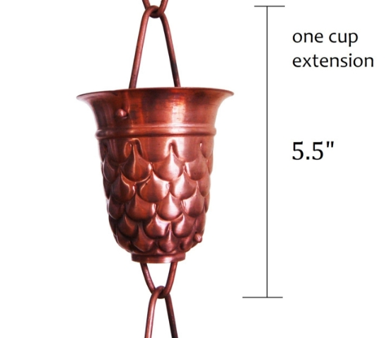 Picture of U-nitt Rain Chain Single Cup Extension #5550: one cup with upper and lower links