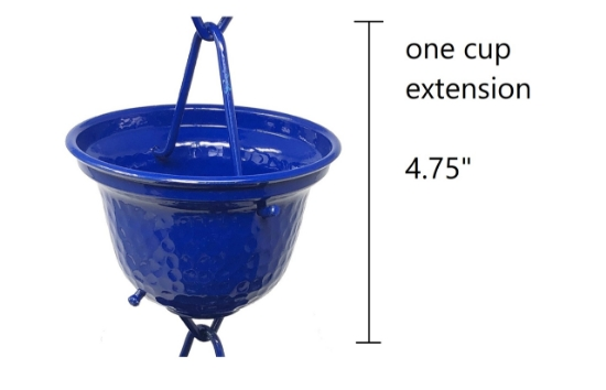 Picture of U-nitt Rain Chain Single Cup Extension #3124BLU: one cup with upper and lower links