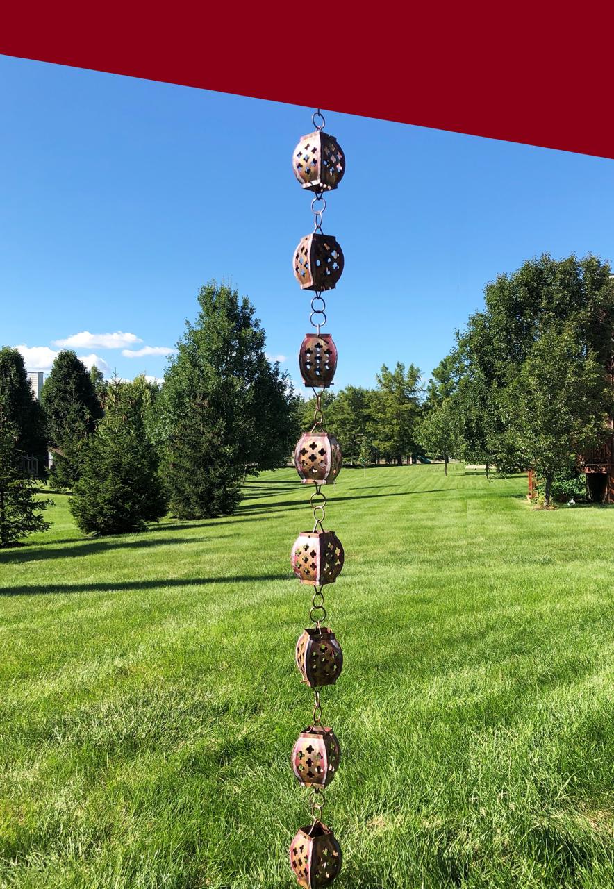 Picture of U-nitt pure Copper Rain Chain: clover cut drum 8 - 1/2 ft #8564