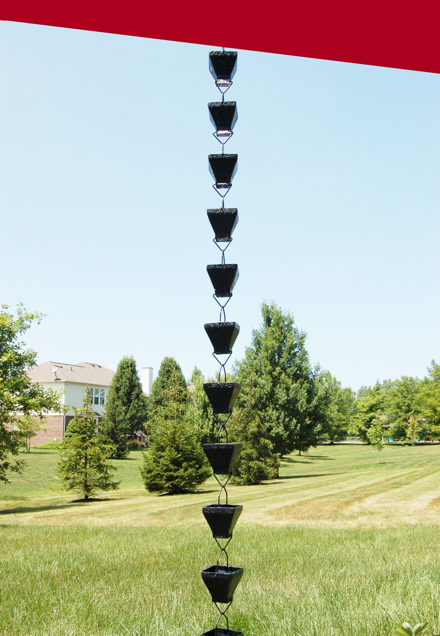 Picture of U-nitt Rain Chain for Roof Gutter Downspout, Water Catcher/Diverter,  square black 8 - 1/2 ft #5517BLK
