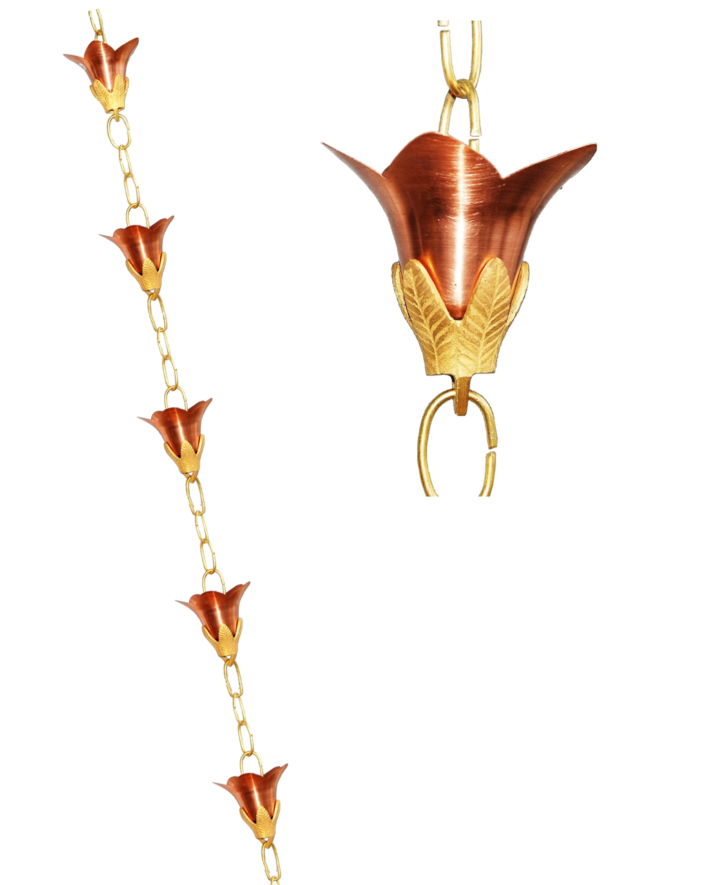 Picture of U-nitt Pure Copper Rain Chain: flower Cup 8 - 1/2 ft #5511