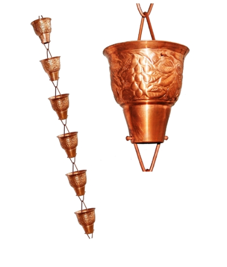 Picture of U-nitt 8-1/2 feet Pure Copper Rain Chain: embossed large cup 8.5 ft length #5502