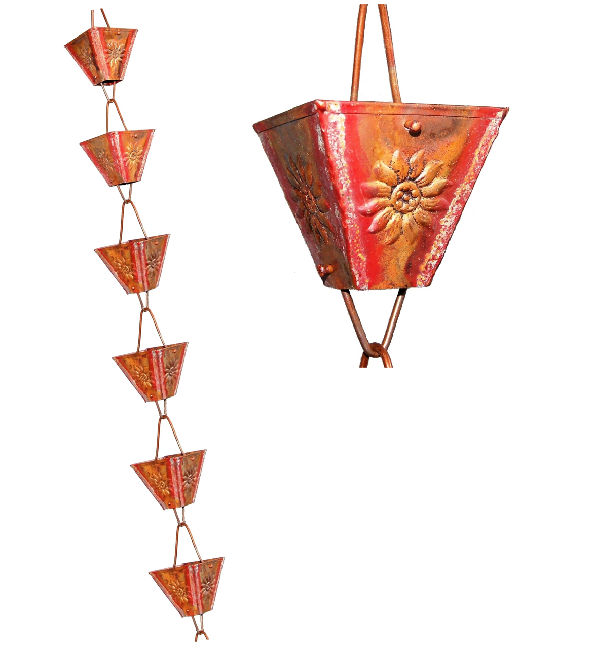 Picture of U-nitt pure Copper Rain Chain: XL Square Cup Embossed Sunflower 8 - 1/2 ft #5515