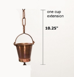 Picture of U-nitt Rain Chain Single Cup Extension #8146D: one cup with upper and lower links